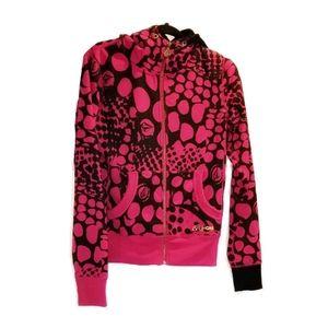 VOLCOM pink black spotted track jacket